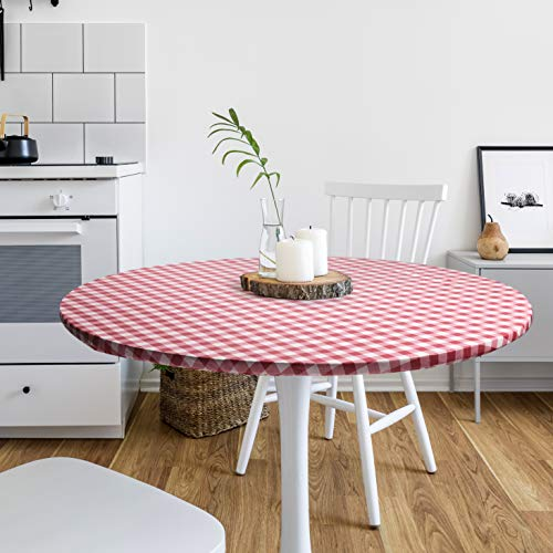 DecorGreat Fitted Round Vinyl Dining Table Covers, Waterproof Tablecloth with Elastic and Flannel Backing, Red Checkered Design fits Small and Large Tables
