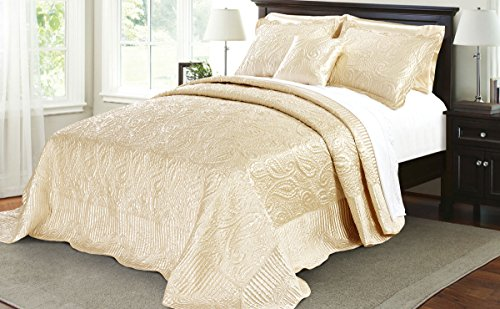 Serenta Quilted Satin 4 Piece Bedspread Set, King, Champagne