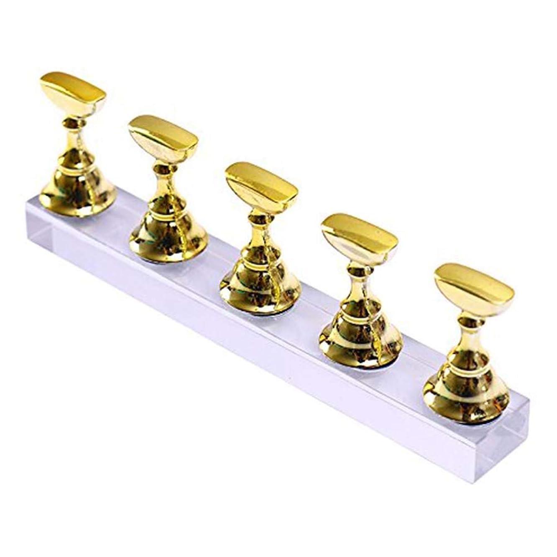 いたずらな円形の哲学的ネイルチップディスプレイスタンドセット 磁気 ネイル練習ハンドネイルエクササイズペデスタル ネイル用品 ゴールド 5本セット