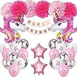 XWTJUER Decoracion Cumpleaños de Unicornio Unicornio Rosa Decoración de Fiesta de Cumpleaños de Niña Fiesta con Tema Unicornio Happy Birthday Banner, Globos Unicornio y Decoracion Bola de Flores.
