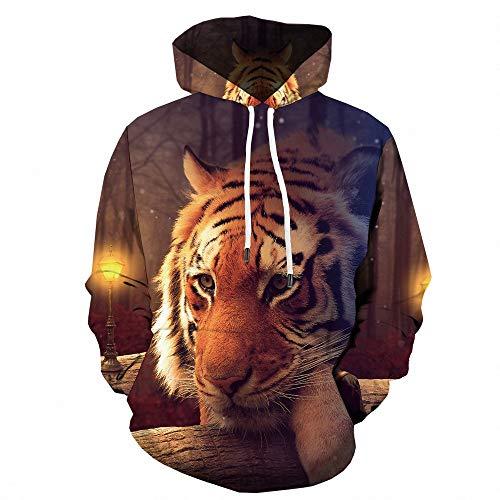 Sudadera con capucha para hombre Creative Casual 3D Tiger Print Sport Sudadera con capucha