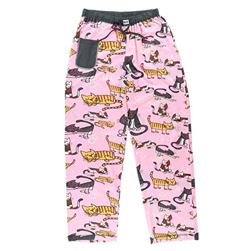 Image of Cotton Funny Cartoon Cat Nap Pajama Pants for Women - See More Designs