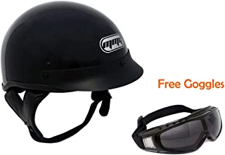 MMG 205 Motorcycle Half Helmet Cruiser DOT Street Legal, Glossy Black, XL, Includes Riding Goggles Street Style