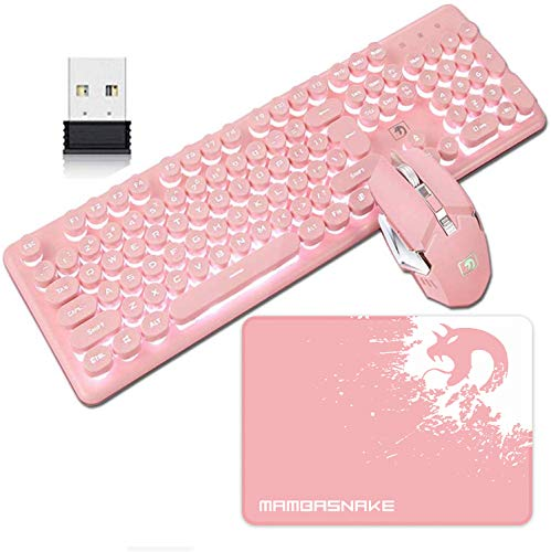 Rechargeable Keyboard and Mouse Combo Suspended Keycap Mechanical Feel Backlit 2.4G Wireless Gaming Keyboard & Mouse Adjustable Breathing Lamp for Laptop Computer and Mac (Pink Punk & White Light)