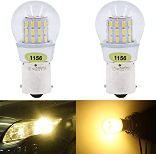 AMAZENAR 2-Pack 1156 BA15S 1141 1003 7506 1073 Extremely Bright Warm White LED Light 9-30V-DC, AK-3014 39 SMD Replacement Bulbs For Interior RV Camper Brake Tail BackUp Reverse Bulbs Turn Signal Light