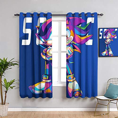 Anime Personalizado Chid Cortinas Sonic The Hedgehog Cortina de ventana cortina cortina para niñas de 63 x 72 pulgadas