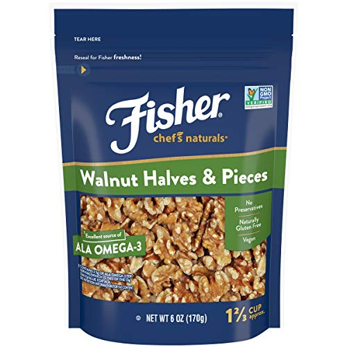 FISHER Chef's Naturals Walnut Halves & Pieces, 6 oz, Naturally Gluten Free, No Preservatives, Non-GMO