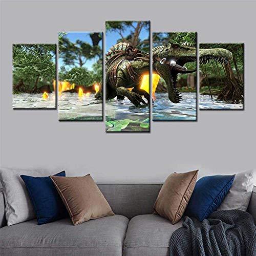 YFTNIPL Bilder 5 Teilig Leinwand Art Bilder Survival Evolved Videospiele Wandbild Wohnzimmer Hauptdekor Hd Gedruckt 5 Teilig Poster Modulare Abstrakt Ölgemälde Leinwand