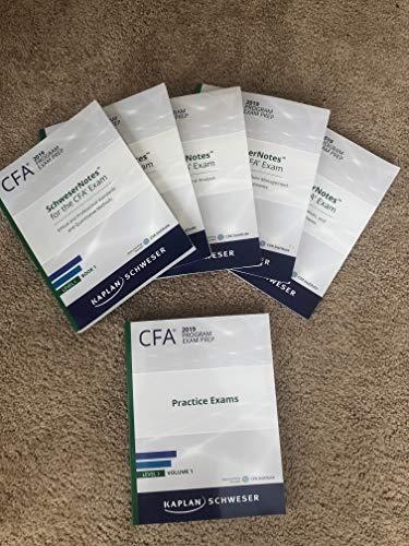 2019 CFA Level 1 Kaplan Schweser Notes: Books 1-5, Practice Exam Vol 1-2, QuickSheet