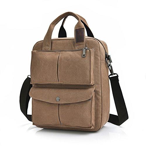 Canvas Handbag Tote Bag College Students School Bag Shoulder Bag Messenger Bag Travel Purse Brown