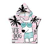 Sticker superb 60x60cm Kinder Wickelhandtuch Poncho mit Kapuze, Karikatur Tier Hai Einhorn Hund Schwimmen Neoprenanzug Ändern zum Surfen Strand, Mädchen Junge Badetuch Bademäntel (Hund)