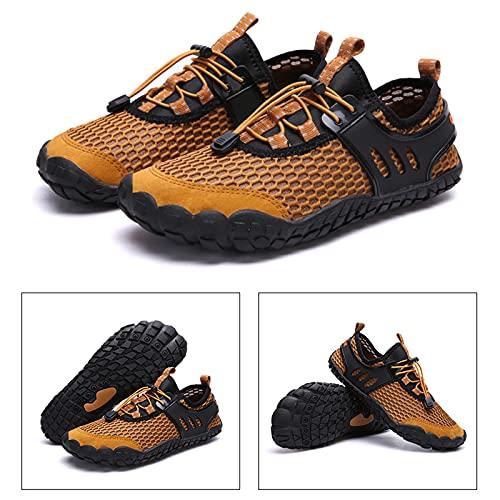Hombres Mujeres Zapatos Descalzos, Zapatos de vadeo para Deportes al Aire Libre de Alta Elasticidad Secado rápido para Actividades acuáticas Trote Ligero Natación física,Amarillo,44