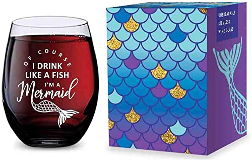 popular Stemless Wine Glass for online sale Mermaid Gifts - Made 2021 of Unbreakable Tritan Plastic - 16 ounces outlet online sale