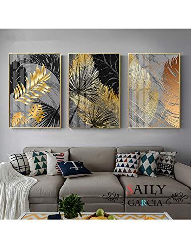 GASFG Marmor Goldblatt Pflanze Leinwand Malerei Poster Und Drucke Wandkunst Bild Für Wohnzimmer