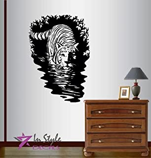 Wall Vinyl Decal Home Decor Art Sticker Tiger in Water Wild Animal Predator Cat Bedroom Living Room Removable Stylish Mural Unique Design