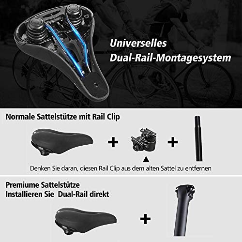 ahanzhu Sillín de Bicicleta, sillines de Bicicleta, sillones de Bicicleta de Carretera Anchos y cómodos, Asiento de Bicicleta de montaña Transpirable, Adecuado para MTB Mountain Bike