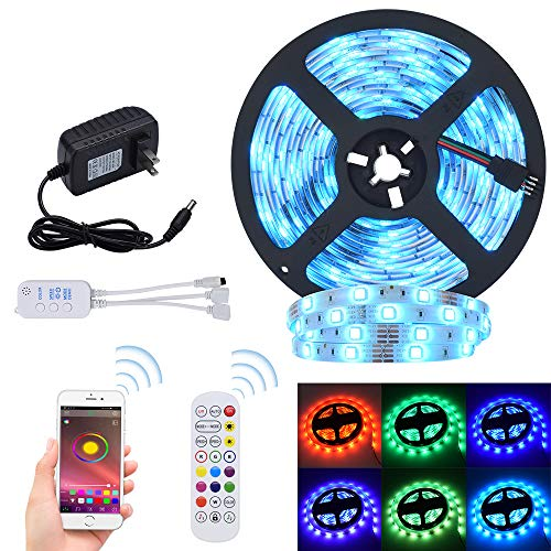 LED Strip Lights RGB Strips 32.8ft Tape Light 300 LEDs SMD5050 Waterproof Music Sync Color Changing + Bluetooth Controller + 24Key Remote Control Decoration for Home TV Party - APP Controlled