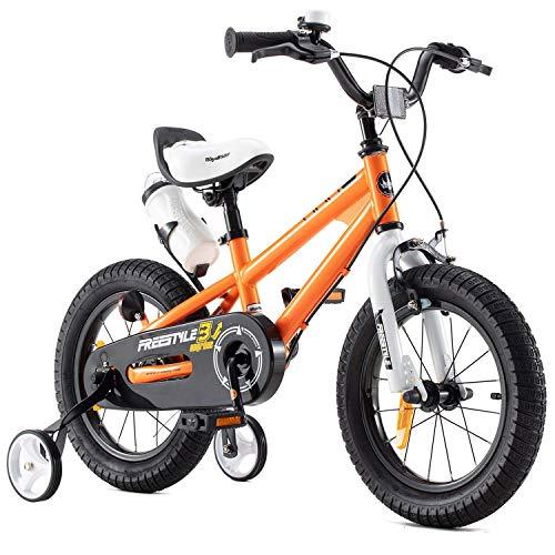 RoyalBaby bicicletta per bambini ragazza ragazzo Freestyle BMX bicicletta bambini bici per bambini 14 pollici arancione