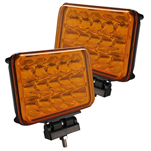 Lightronic 4X6 Inch Rectangle 45W 3000K Amber Beam Super Bright LED Off-Road Auxiliary Light for Driving in Fog Rain Snow & Dust, Driving/Spot Combo Beam Pattern, IP69 Waterproof Rating, 2 Pieces