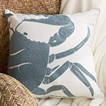 North End Decor Blue Crab Chain Stitch Decorative 18x18 (Insert Included) Throw Pillows, Stuffed