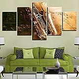 WJDJT Leinwanddrucke 5 Stück Wandkunst Trompete Poster