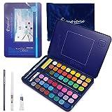Set de 48 Acuarelas SaiXuan- Colores de Acuarela Profesional, para Artistas Principiantes y Consagrados - Juego de Pinturas de Alta Pigmentación, con Neón y Metalizados