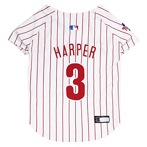 MLB Philadelphia Phillies Dog Jersey - MLBPA Bryce Harper PET Jersey, Large. Cutest MLB Baseball Jersey for Dogs & Cats