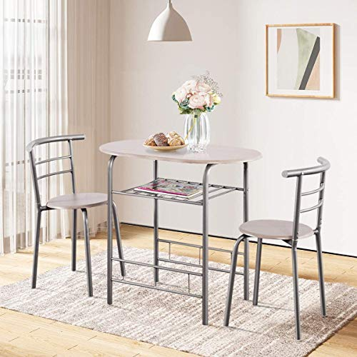 ARLIME 3-Piece Dining Table Set, 2 Chairs and Round Table Set with Iron Frame, Kitchen Breakfast Compact Table Set with Storage Shelf, for Small Space, Dining Room, Apartment, Pub, Bistro (Grey)