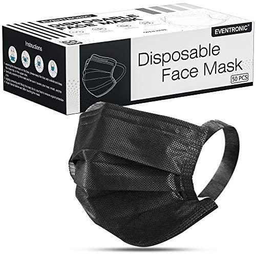 Eventronic 50 Stück Einweg-Gesichtsmasken,Kommt mit bequemen Breiten Ohrschlaufen,50 Stück schwarz, 3 lagig Mund-Nasen-Schutz,Mund und nasenschutz