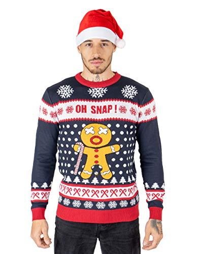 NOROZE Herren Damen Unisex Neuheit Weihnachten Pullover Strickpullover S Oh Snap Marine