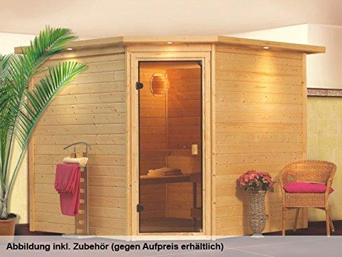 Woodfeeling Sauna Leona 38mm ohne Ofen Tür Modern