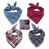 MEJOSER 4 Stück Bandana Haustier Halstuch Hundehalstuch Kopftücher Kariertes Dreieckstuch Halsband für Hunde und Katze Kostüm Zubehör Deko