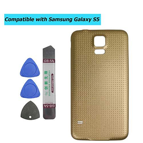 Upplus - Tapa de batería Compatible con Samsung Galaxy S5 G900 G900A G900P G900T G900V G900R4 G900F, Color Dorado