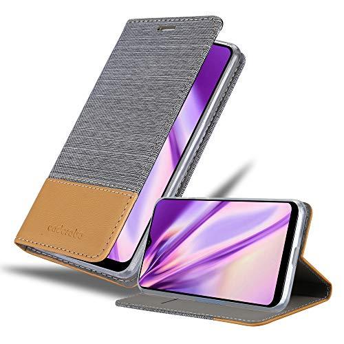 Cadorabo Funda Libro Compatible con Samsung Galaxy A20S en Gris Claro MARRÓN - Cubierta Proteccíon con Cierre Magnético, Tarjetero y Función de Suporte - Etui Case Cover Carcasa