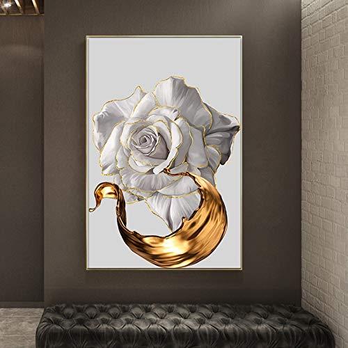 WOEJGO Impresión en lienzo para pared, diseño nórdico de acuarela blanca, rosa dorado, impresión abstracta, arte moderno, para decoración de salón, sin marco (70 x 110 cm, A)