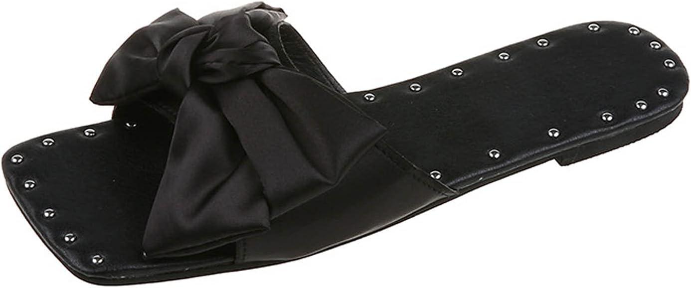 Yamx Open Toe Summer Beach Sandals,Sandals Women Flat Slippers Open Toe Bow-Knot Comfy Beach Roman Shoes Flip Flop