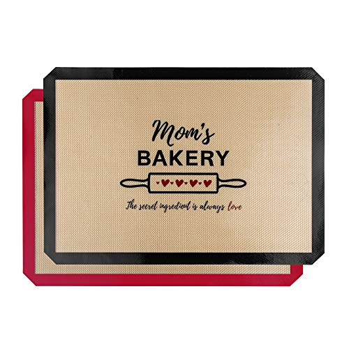 Bright Home (2 Pack) Silicone Baking Mat Sheet Set - Reusable Silicone Baking Mats Non-Stick - Half Sheet Mat for Oven (Size 11.6' x 16.5') - BPA free - Gifts for Mom - Mom's Bakery Design - Black/Red