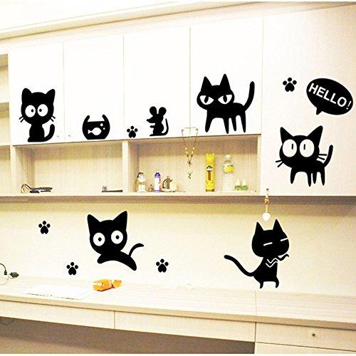 Stonges Dormitorio de los niños negro gato de dibujos animados pegatinas de pared de la moda sala de estudio creativo pared de la sala de cartel