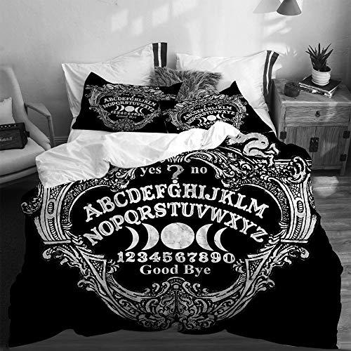 SUHETI Bedding Juego de Funda de Edredón,Tablero Ouija Querubín Muerte,Microfibra Funda de Nórdico y Fundas de Almohada-(Cama 200 x 200cm)