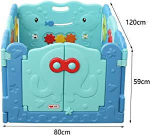 Baby Playpen Kids Activity Centre With Lock Door Safety Fence Playard For Home Backyard Park Indoor Outdoor Girls Boys Play Area  Size panel