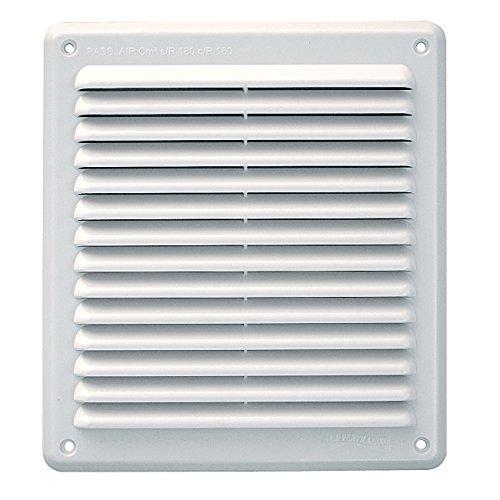 La Ventilazione AR2023B Griglia di Ventilazione in Plastica Rettangolare da Sovrapporre, Bianco, 204x230 mm, Passaggio aria 160 cm²