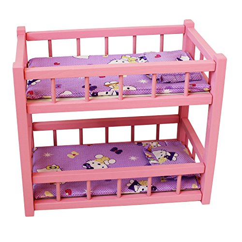 Obique Children's Wooden Toy Pink Pine Bunk Bed for Two Dolls for 15-Inch Dolls, with Mattresses and Pillows