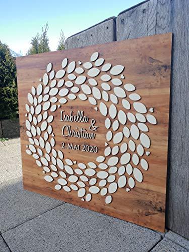 Manschin-Laserdesign Personalisiertes 3D Gästebuch 140 Blätter komplett aus echtem Holz Gästebuch Alternative 69x65 cm (Nussbaum Hell)