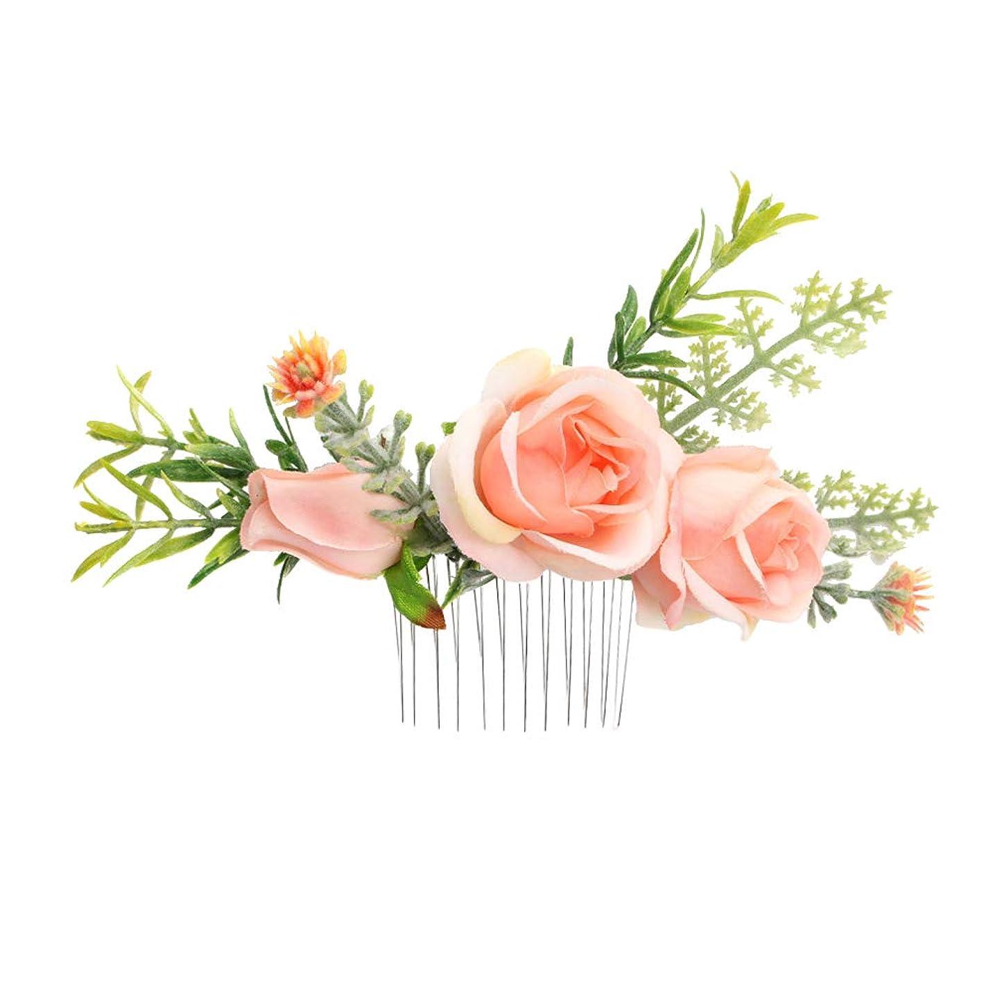 縫う仕事に行く恥ずかしさLurrose 結婚式の花の髪の櫛ブライダルスライドかぶとの花の髪の櫛の女性のためのアクセサリー女性