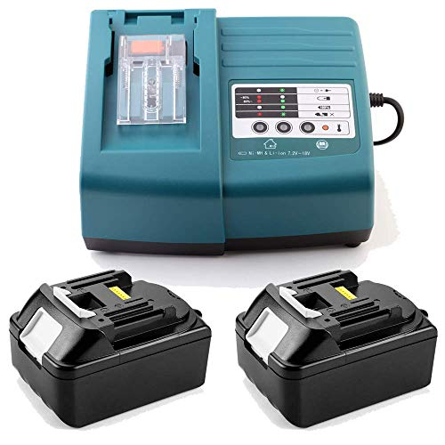 Ersatz Ladegerät mit 2 Stück Akku 18V 3.0Ah für Makita Baustellenradio DMR100 DMR108 DMR107 DMR106 DMR106B DMR102 DMR104 DMR110 DMR101 DMR103B BMR102 BMR100 BMR104 18 Volt Radio Batterie