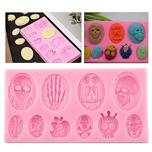 Limeow Halloween Silikon Muffinbackform Halloween Totenkopf Silikon Backformen Halloween Thema Silikon Backform Rosa für DIY Kuchen Backwerkzeug Muffins Kuchen Pudding Eiswürfel Schokolade und Gelee