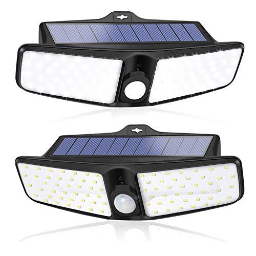 Solarlampen für Außen mit Bewegungsmelder [2 Stück], XZN 270° Beleuchtung Weitwinkel, IP65 Wasserdichte Wandleuchte, 100 LED 700 Lumen Superhelle, 1800mAh Solarleuchten für Außen, Garage, Terrasse