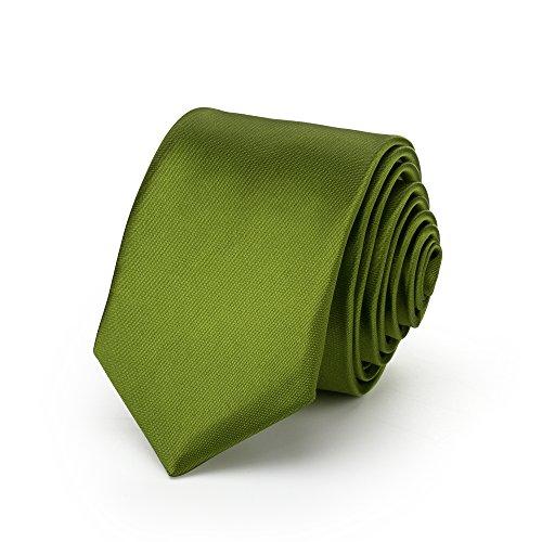Rusty Bob Rusty Bob - Krawatte schmal/dünn 3cm-5cm für Herren [auch für Kinder/Jungen] (uni,nicht gestreift) aus Polyester glänzt wie Seide - Olivgrün