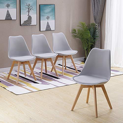 HomJoy Modern Design Dining Chair, Retro Lounge Chairs Premuim Plastic Wood and PU Leather Lorenzo Chair (Grey * 4)