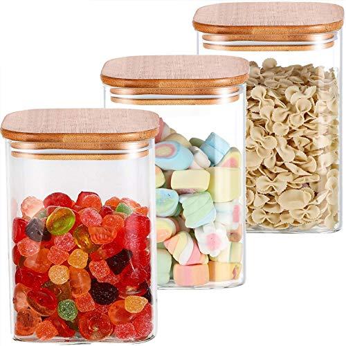 3 Tarros de Almacenaje de Cocina de Cristal con Tapa de Bambu - 1l - Cuadrados - Hermeticos - Aptos para Lavavajillas